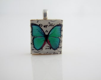 Turquoise Blue Butterfly necklace - Morpheus pendant - Blue Butterfly Pendant,  Scrabble Tile Pendant on Sterling Silver 925 bail & chain