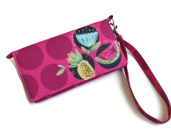 Women wallet, large wallet, large women wallet, pink wallet, summer wallet, vegan wallet, handmade wallet, flowers, pineapple, polka dot