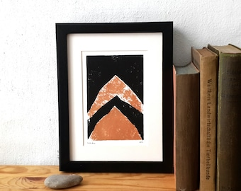 Kupfer, Linoldruck, Linolschnitt, Kupfer Berge, original-Artworks, abstrakte Kunst, Druck Kunst, retro Scandi, Landschaftsmuster, Vintage-design