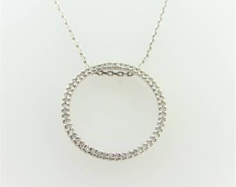 Diamond Eternity Circle Pendant Necklace in 10k White Gold 0.3 cttw