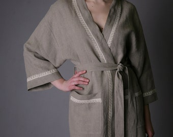 Linen Bath Robe Natural/ Night Robe Short Laced/ Flax Gown/ Luxury  Linen Laced Spa Robe/ Pool Linen Gown/ Bio Natural Robe