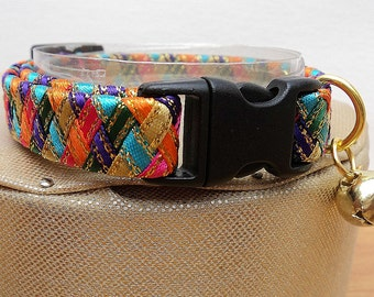 Kitten Collar / Small Cat Collar in Striking Harlequin Colours