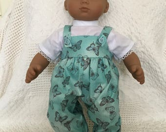 This pretty overalls and shirt outfit is handmade to fit such dolls as the 15 inch American Girl Bitty Baby and Bitty Twins.