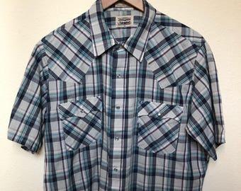 Vintage Levi's western shirt blue plaid purple white, Levi's cowboy shirt, pearl snap short sleeve, Levi white tab 70s 80s, thin sheer, XL