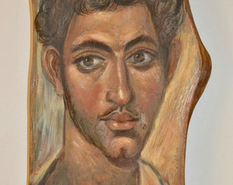 Fayum Mummy Young man Portrait Handcrafted