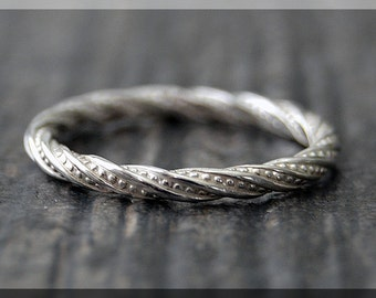 Sterling Silver Twisted Ring, Stacking Ring, Silver Rope Stacking Ring, twisted ring, Rope texture ring, Handmade stacking band, silver ring