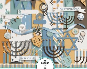 Hanukkah digital scrapbook kit, digital paper, Hanukkah paper pack, menorah and  dreidel clip art, printable Hanukkah paper, Hebrew