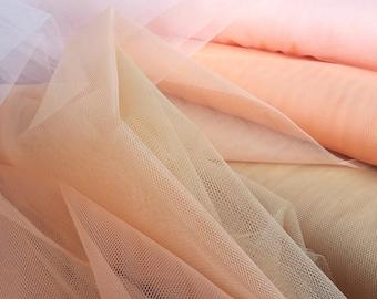 Nylon Net Fabric, in Peach, Orange and Golden Yellow