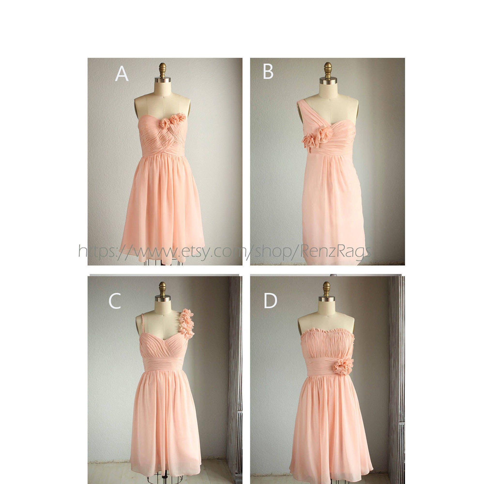 Bright peach short mix match bridesmaid dressblush pink zoom ombrellifo Choice Image