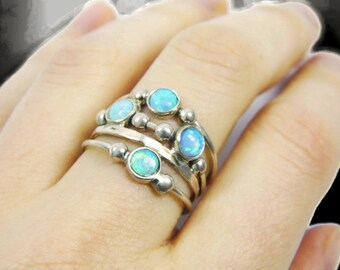 Silver opal ring. spheres sterling silver ring, Sterling silver ring. Opal ring. Opal silver ring. Wide opal ring. Wide ring. opal jewelry.