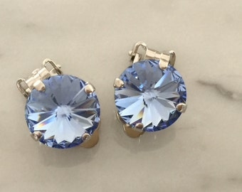Light Sapphire Swarovski Crystal Clip On Earrings,  Silver