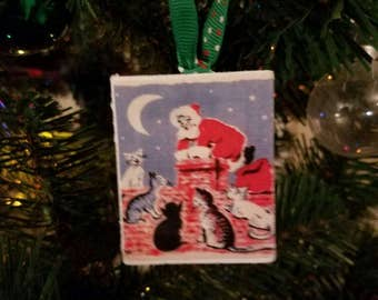 Santa Cat wood ornament