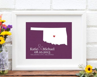 Oklahoma State Map Wedding Gift, Personalized State Map Art, Personalized Engagement Gift, First Anniversary -  Art Print
