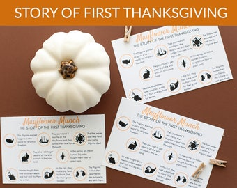 Mayflower Munch: The Story of the First Thanksgiving Printable Cards