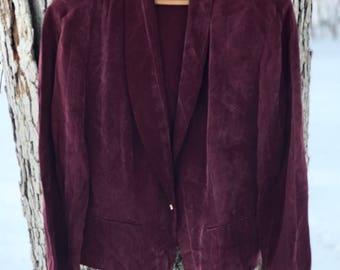 vintage silky plum/maroon blazer with gold button size 14