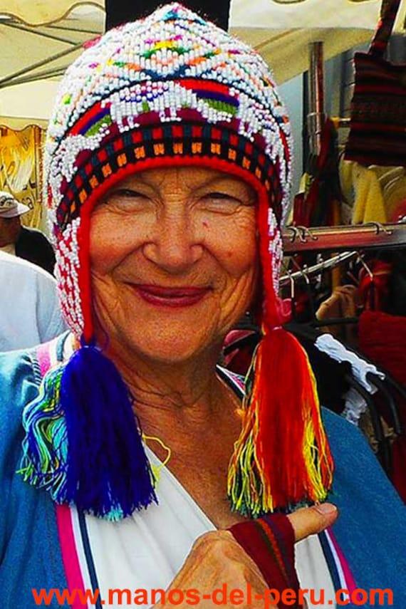 Genuine Peruvian Hat, genuine Peruvian Acomayo Peruvian, Peruvian Hat knitted by hand, authentic Peruvian