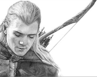 PRINT: Legolas portrait drawing