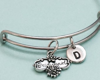 Bridesmaid bangle, bridesmaid bracelet, bridesmaid charm, personalized bracelet, expandable bangle, charm bangle, initial, monogram