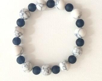 Navy and White Howlite Stretch Bracelet