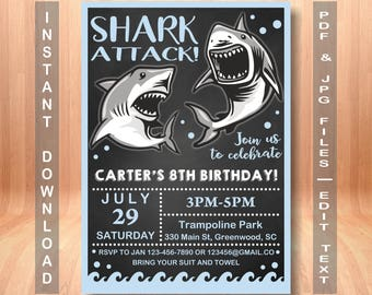 Shark birthday invitation, Shark Attack invitation, shark birthday party, shark birthday,  shark, Shark Party, Instant Download
