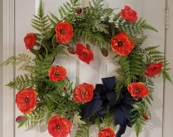 Spring wreath,wreaths,wall art,Front door decor,wreath for front door,Front door wreath,Spring wreaths for front door,wreaths,poppy