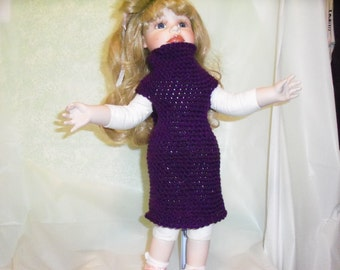 18 inch Doll Dress, Purple Doll Dress, Fits American Girl Doll Clothes, Doll Accessories Crochet 18 Inch Doll Dress