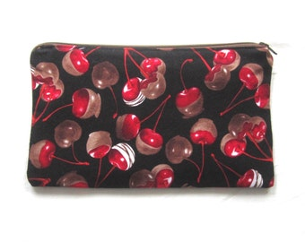 Chocolate Covered Cherries Fabric Zipper Pouch / Pencil Case / Make Up Bag / Gadget Sack