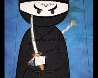 Nearly Ninja Applique Embroidery designs 8x14in (200x360mm) Machine Embroidery Design