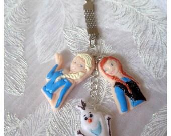 "Door key child polymer clay ""Of the snow Queen"" Frozen Elsa - Anna - Olaf - handmade"