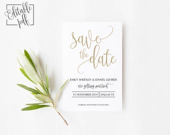Save the Date Template. Printable Save the Date. Save the Date. Faux Gold Save the Date. Printable PDF template.