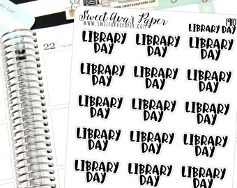 Library Day Planner Stickers - Script Planner Stickers - Lettering Planner Stickers - Typography Stickers - Book Planner Stickers - 1910