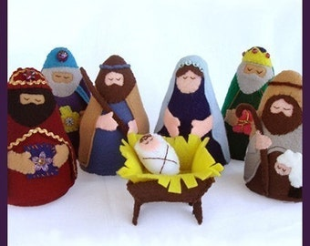 NATIVITY - Joseph, Mary, Jesus, Wise Men, Shepherd, Manger (Patterns and Instructions)