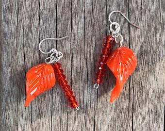 Glass leaves and czech glass earrings