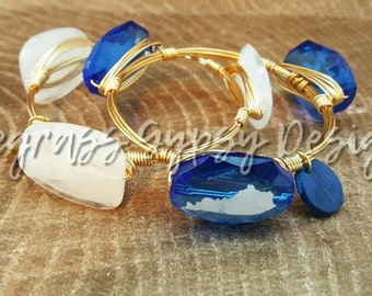 University of Kentucky Wire Wrapped Bangle, Bracelet, Bourbon and Boweties Inspired