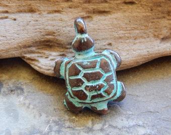 24X17mm Turtle Green Patina Verdigris Greek Mykonos Casting Pendant, 1 PC (INGOM70)