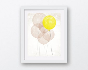 balloon art, nursery wall art, yellow and brown art, balloon nursery art, kids room art, modern balloon art, balloon print, printable art