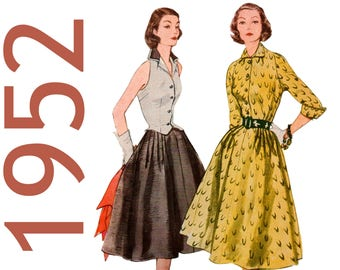 """1950s Skirt Pattern Full Skirt Pleated Skirt 1950s Blouse Pattern SIMPLICITY 3770 UNCUT bust 32"""" Fitted Blouse Detachable Collar 50s Blouse"""