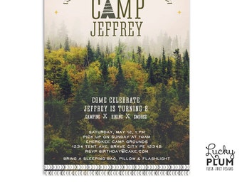 Camping Birthday Invitation / Lumberjack Birthday Invite / Sleepover Invite / Woodland Birthday Invite / Forest Birthday Invite