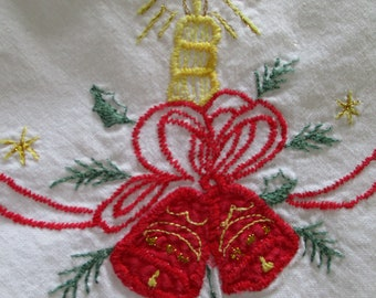 """Christmas embroidered table cloth 31"""" square"""