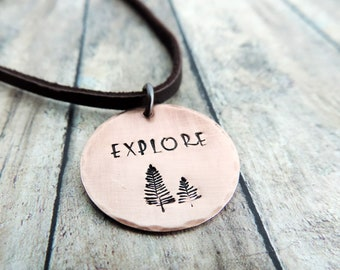Explore Pine Trees Necklace - Outdoor Jewelry - Gift for Hiker - Nature Jewelry - Hiker Jewelry