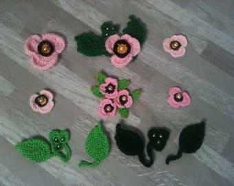 2-3-4-5-6-8 cm flower-poppy pink artificial rose crochet/flower / flower rose/pink flower/pink crochet flower