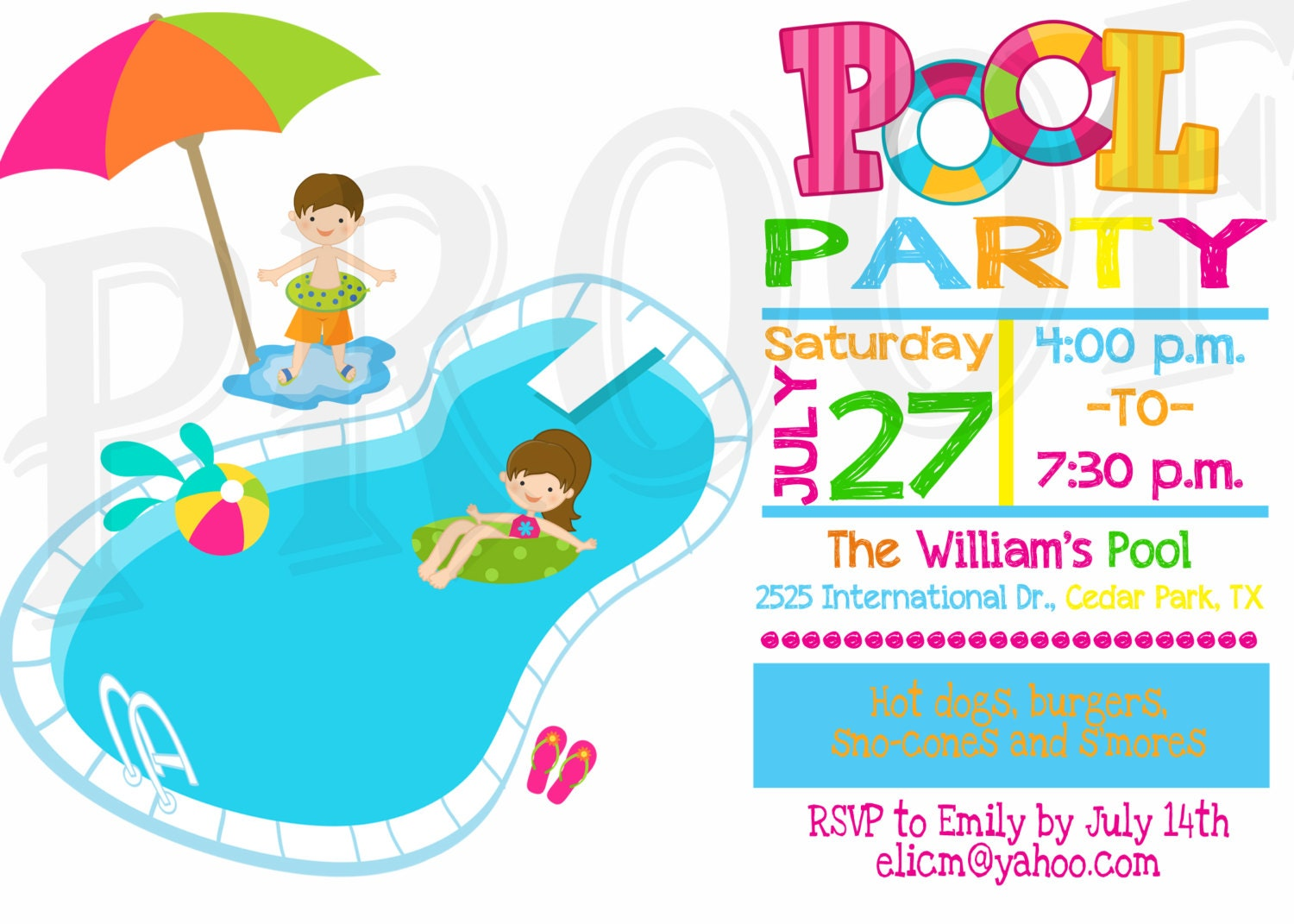 Pool party invitation pool party decoration kids pool party zoom stopboris Images