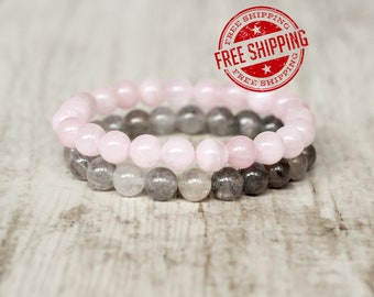 gray and pink bracelet gemstone stretch bracelet stackable gray bracelet stack bracelet quartz bracelet set jewelry gift for christmas boho