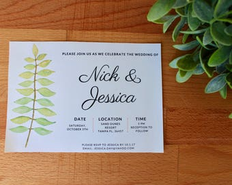 Greenery Wedding Invitation, Printable or Printed, 7 X 5, DIY Wedding