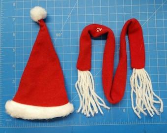 6.5 inch Santa Scarf and Hat Set with Fur Trim (24)