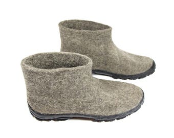 Short Ankle Boots Men Wool Boots, Chelsea Boots Large Size Shoes Grey felted boots, Winter boots felt Men TR Rubber soles Men's Size US 9-14