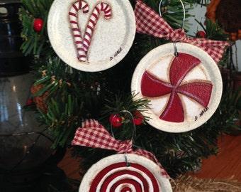 Candy Cane Jar Lid Ornaments