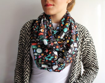 Chemistry Infinty Scarf Women Science Chemistry Gift for Her March for Science Lab Biology E=mc2 Nerd Fashion Accessories Science Party