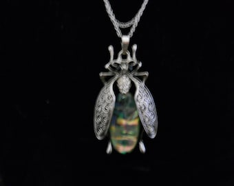 Abalone Stainless Steel Locust Bug Necklace #369