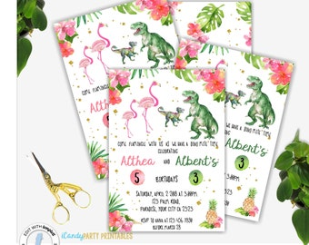 Dinosaur Invitation, Flamingo Birthday Invitation, Dinosaur Birthday, Twins Birthday Invitation, Party Invitations, Personalized,